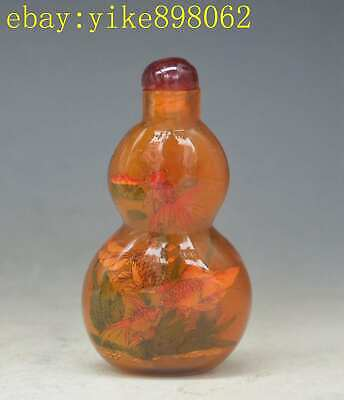 Chinese Red Peking Glass Carved Gourd Shape goldfish Pattern Snuff Bottle