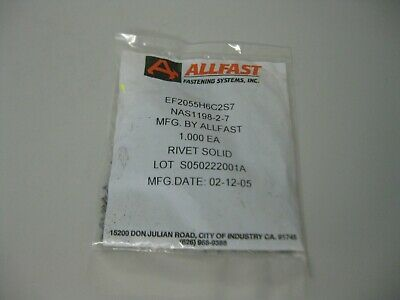 Allfast Aviation Titanium Solid Rivets Button Heads NAS1198-2-7 1000 count