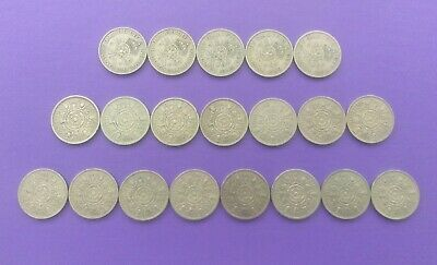 George Vi & Elizabeth Ii  1947-1967 Florins (Two Shillins) Date Run Of 20 Coins