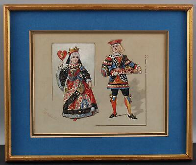 19thC Antique Queen & Knave of Hearts Poem Playing Cards Gouache Painting