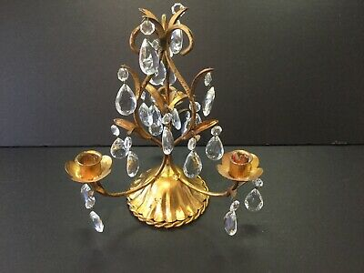 Vintage CRYSTAL Tole GILT Gold CANDLE HOLDER Hollywood Regency Girondole ITALY