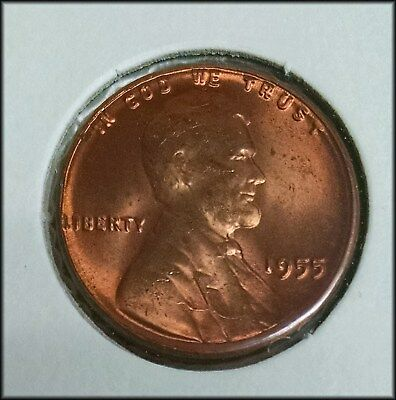 1955 Poor Mans Double Die Lincoln Cent - GEM RED UNC - Free Shipping! - BINo