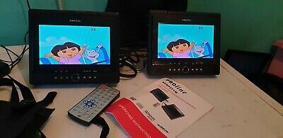 """Proline Twin Dual Portable in car DVD player with 7"""" screens USB Cards"""