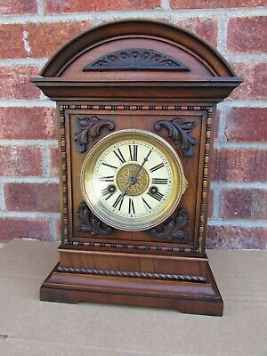 German 14 Day Walnut Striking Mantle Clock C1910