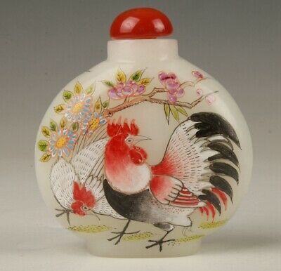 Chinese Coloured Glaze Handmade Painting Rooster Snuff Bottle Gift Collection