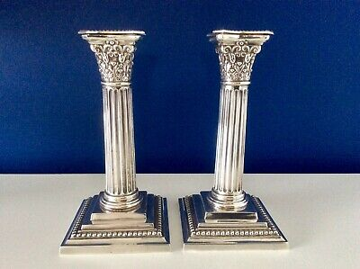 "7"" Victorian Silver Plated Corynthian Column Candlesticks Martin Hall & Co C1854"