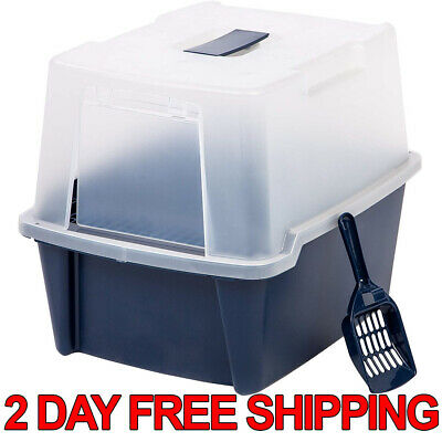 Clean Pet Cat Kitty Closed Top Regular Litter Box with Shield and Scoop Black