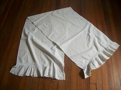"""Antique White Cotton 74"""" Long Pillow Sham Trimmed in Eyelet"""
