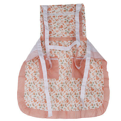 Floral Printing Apron With Pockets Retro Style Durable Kitchen Cooking Aprons D