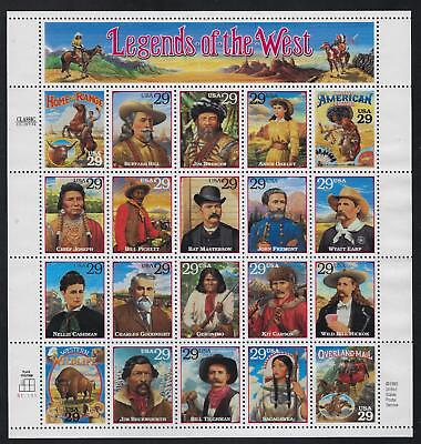 Scott 2869 1994 29 Cent Legends Of The West Sheet Mnh Vf Og Cat $15!