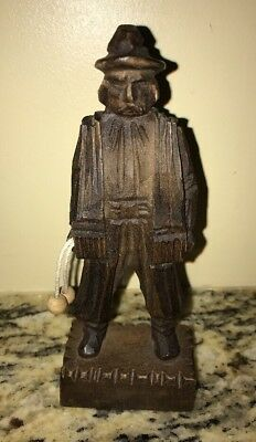 "Wood Hand Carved Statue Spanish Man With Bolas 6"" Tall"