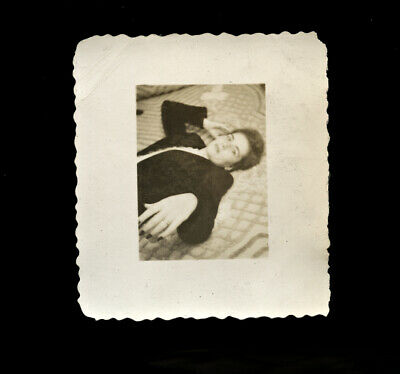 1940s Vintage Snapshot Photo Woman on Bed, Painted Nails
