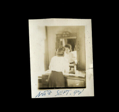 Dreamy Surreal Old Snapshot Photo Woman Looking in Mirror 1940s Name & Dated