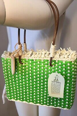 Straw Studios New Green Beige Purse Hand Crafted Leather Handles Zip Top