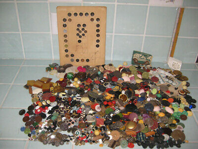 Lot 8 lb. Antique Vintage Buttons Glass Celluloid Victorian MOP Diminutive Metal