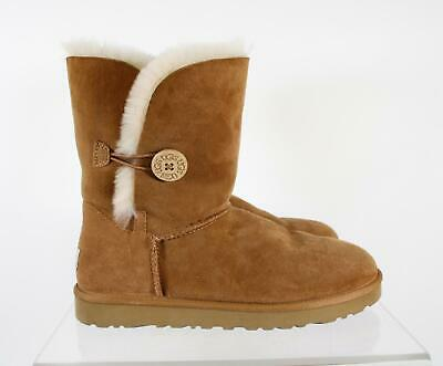 4a08314e854 UGG AUSTRALIA YOUTH Size 7 Leather Brown Sheepskin Lining Rubber ...
