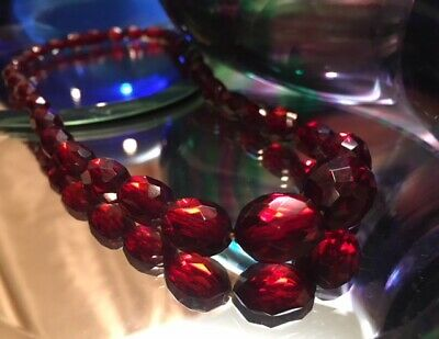 VTG Cherry Amber Faceted Necklace Art Deco Beauty! Graduated Beads No Reserve