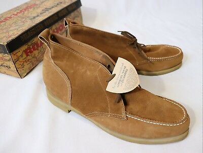 Vintage Suede Leather Casual Boots Shoes Road Hogs Dead Stock 12 M