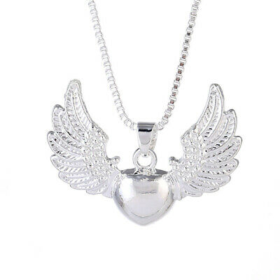 Women Vintage 925 Silver Heart Angel Wing Charm Pendant Necklace Girl's Jewelry