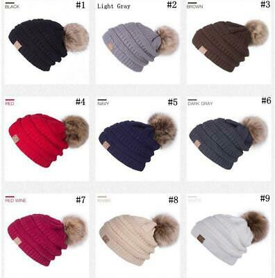 Women's Beanie Ribbed Winter Soft Fleece Warm Knit Ski Hat with Faux Fur Pom Cap