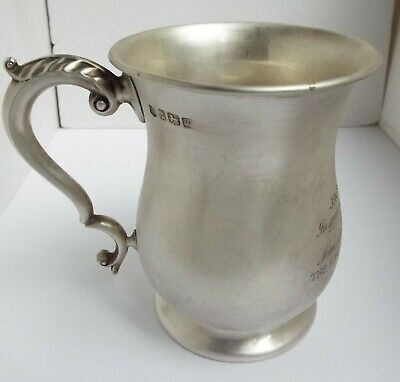 HEAVY 399g ENGLISH ANTIQUE 1946 STERLING SILVER PINT TANKARD MOTORSPORT INTEREST