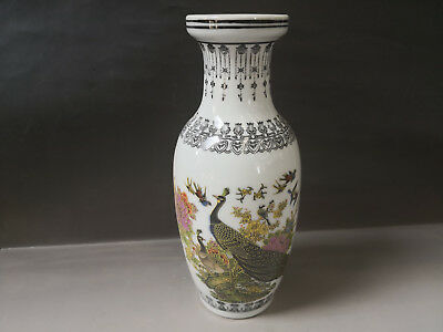 Chinese old porcelain vase painted flower and bird vase