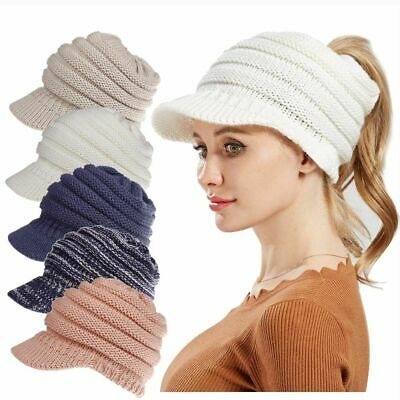 Baseball Winter Ski Hat Cap Stretch Women Sports Warm Ponytail Knitted Wool Caps