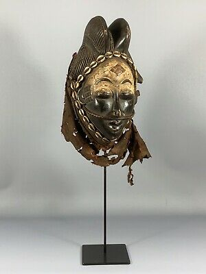 190535 - Tribal used Old African female mask from the Punu with Cap - Gabon.