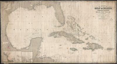 1871 Imray Blueback Chart or Map of the Gulf of Mexico and the West Indies