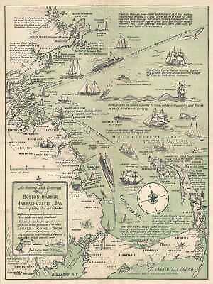 1938 Snow Pictorial Map of Boston Harbor and Massachusetts Bay