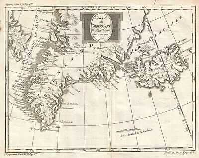 1770 Bellin Map of Greenland and Iceland