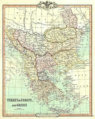 1852 Cruchley Map of European Turkey and Greece