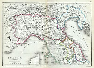 1867 Hughes Map of Northern Italy in Antiquity