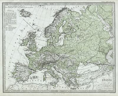 1862 Stieler Physical Map Of Europe