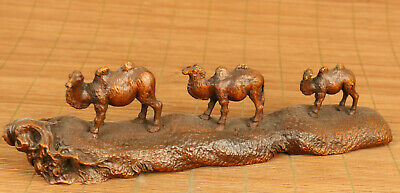 big old boxwood Handcarved three camel statue netsuke table home decoration