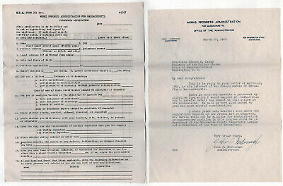1939 MASSACHUSETTS WPA Signed Letter MCDONOUGH Application NEW DEAL Works