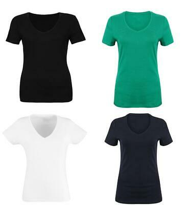 Womens Ladies EX M&S Pure Cotton Short Sleeve V-Neck T-Shirt  size 8-24