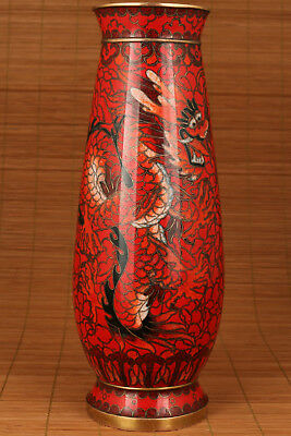 Old Chinese Cloisonne Copper Hand Painting Red Dragon Statue palace Vase