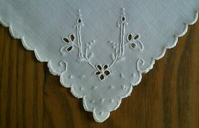 """12 Vintage 11"""" White Linen Tea Or Luncheon Napkins ~ New In Box ~Hand Embroidery"""