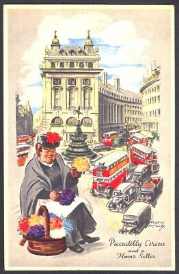 1951 Festival of Britain Vintage Art Postcard: Piccadilly Circus. Free UK Post