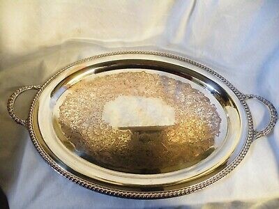 Large Heavy Vintage Silver Plated Serving Tray With Handles