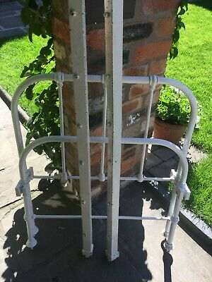 white painted iron antique vintage single bedstead, good condition