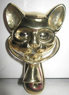 Cat kitten retro winking eyes door knocker in solid brass 1970's