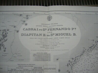 Vintage Admiralty Chart 3806 Luzon West & East Coasts - The Philippines 1922 VGC