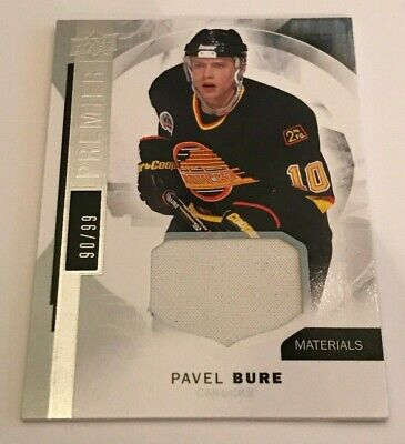 Pavel Bure /99 made Premier Jersey Insert Parallel Hockey Card 49 Canucks 2015