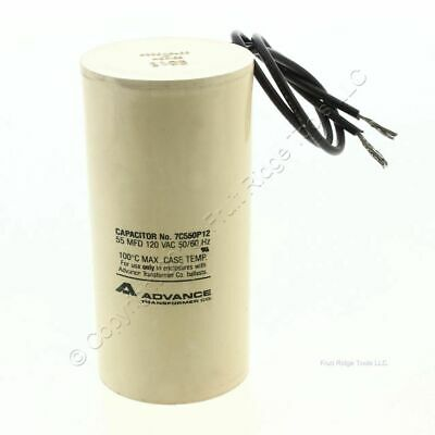 New Advance Transformer Capacitor 55 MFD 120VAC 50/60Hz 100C E5 Bulk 7C550P12