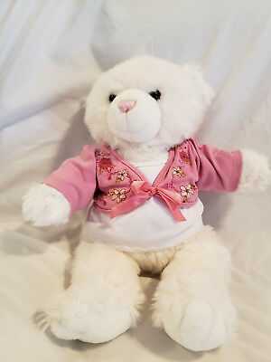 Build a Bear White Bear with Pink Nose and Pink Top Super Soft