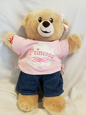 Build a Bear Bear With Princess Outfit and extra Princess shirt 15 inch