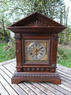 Lovely Antique German Junghans Chiming Mantel Clock With Key.