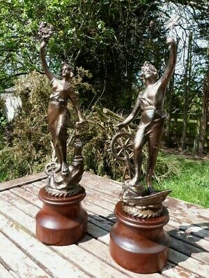 Lovely Pair Of Antique Vintage French Spelter Figurines On Wooden Plinth.